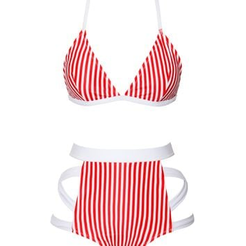 Santa Catalina Red Striped High Waisted Two Piece Swimsuit