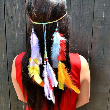 Rainbow Feather Headband #B1017