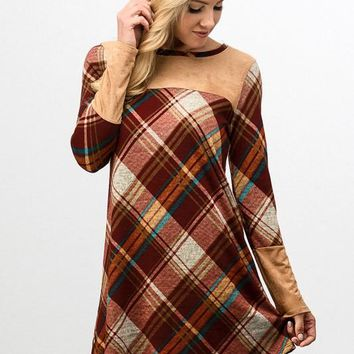Plaid Dress with Suede Details - Mustard