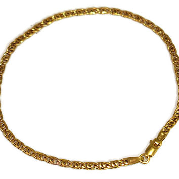 10k Gold Anchor Link Bracelet Dainty Italy 8 Inch