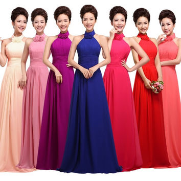 Halter Neck Flower Long Chiffon Evening Dress 2015 Bride Plus Size Floor Length Wedding Party Dress Bridesmaid dresses Sexy Prom Dress = 1929757316