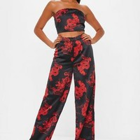 Missguided - Black Dragon Print Wide Leg Pants
