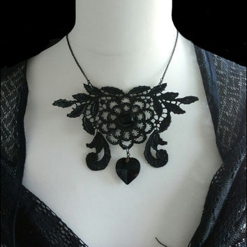 Handmade OOAK totally black lace heart statement necklace