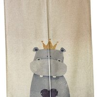"Japanese Noren Doorway Curtain Tapestry 33.5"" Width x 47.2"" Long, Hippo King"