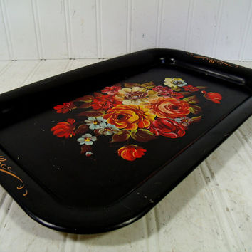 Vintage Tole Painted Floral Black Metal Tray - Retro Colorful Flowers Bouquet ToleWare Decorative Tin Platter - Shabby BoHo Bistro Display