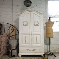 Painted Cottage Chic Shabby Tea Stained Romantic French Armoire AM236