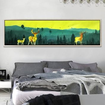 Scenery painting Abstract painting the mountain sight with deer and birds Original large painting Wall Pictures Home Decor Hand Painted