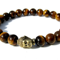 Tiger Eye Mens Buddha Bracelet, Meditation Yoga Mala Bracelet, Jewelry for Men, Mens Beaded Gemstone Bracelet, Handmade Bracelet