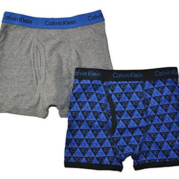 Calvin Klein Little/Big Boys' Assorted Boxer Briefs (Pack of 2) (Large / 12-14, Blue/Gray/Triangle)