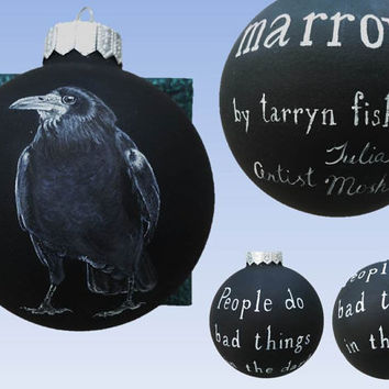 Christmas Ornaments, Hand Painted Christmas ball, Marrow, Tarryn Fisher, Crow, Raven, Glass, New year, Christmas Craft, Gift CUSTOM ORDER