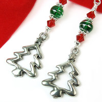 Christmas Tree Earrings Pewter Green Glass Red Crystals Long Handmade