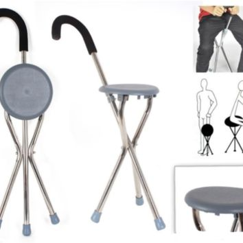 Portable Walking Cane with Seat Chair 2-in-1 Tripod Tool