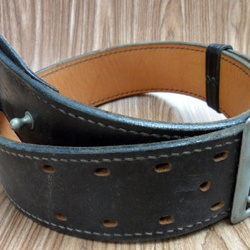 Don Hume Sam Brown Steampunk Duty Belt Black Leather with Metal Buckle B101 28