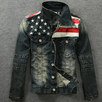 Motorcycle American Flag Denim Jacket Outwear