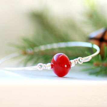 Silver Bangle, Christmas Jewelry, Simple Bangle, Stacking Bangle, Modern Minimalist Jewelry, Red Hollow Glass - Home for the Holidays