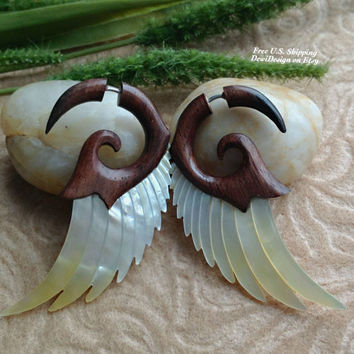 "Fake Gauge Earrings, ""Forest Wings"" Hand Carved, Sono Wood, Mother of Pearl, Naturally Organic"