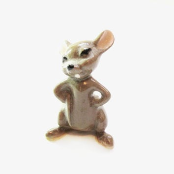 Tiny Vintage Mouse Figurine, Mini / Miniature Porcelain Animal