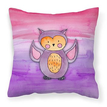 Pink and Purple Owl Watercolor Fabric Decorative Pillow BB7428PW1414