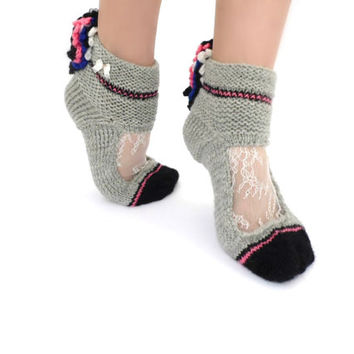 Pink Ruffle socks Lace ankle cuffs Beautiful Winter socks Boot socks Lolita Pastel Goth Rave Retro disco Wool Knit Warm socks Soft Grunge