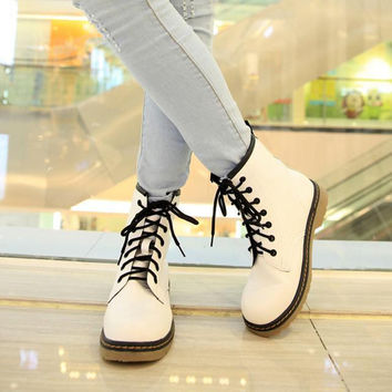 Spring Fall Genuine Leather Lace Up Land Shoes Punk White Black Colors