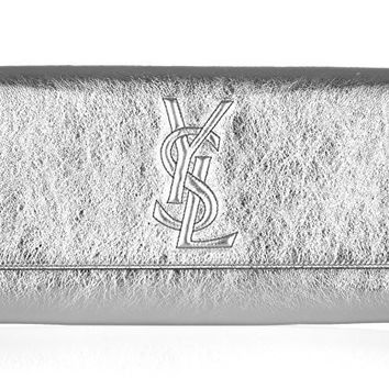 Yves Saint Laurent YSL Belle du Jour Metallic Silver Leather Fold Over Wallet