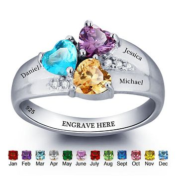 Personalized Birthstone Ring 925 Sterling Silver Heart Stones Engrave Name Jewelry Engagement Gift Mother Rings (RI101793)