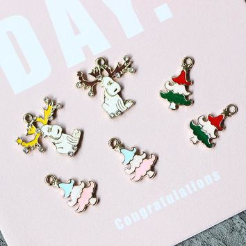10pcs/pack Lucky Christmas Tree Deer  Enamel Charms Metal Pendant fit Necklace bracelet  Jewelry Component  Accessory DIY Craft