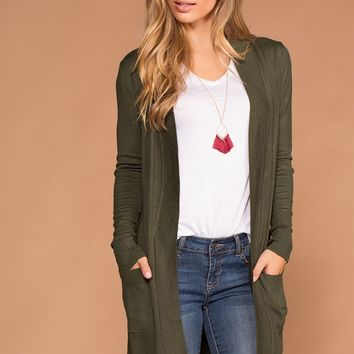 Kokette Long Cardigan - Olive