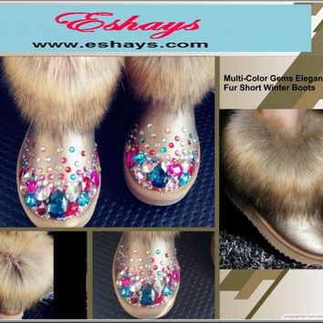 Gold Colorful Gems Jewels Rhinestone Fur Snow Winter Boots