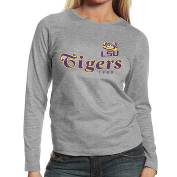 LSU Tigers Ladies Victory Parade Slim Fit Long Sleeve T-Shirt - Ash