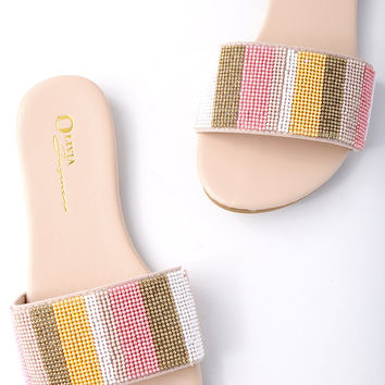 Maira Nude Beaded Slide Sandals
