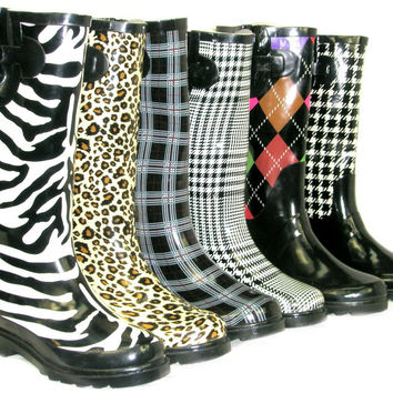 *Cute Comfy* GALOSHES WELLIES RUBBER RAIN Boots Multi