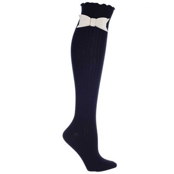 Ribbed knee high boot Sock w Snap On Bow Tie