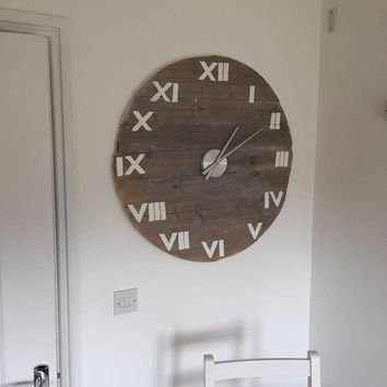 Clock Wall Vintage, Large 77cm / 30.3 inch Diameter with White Roman Numerals in Barnwood