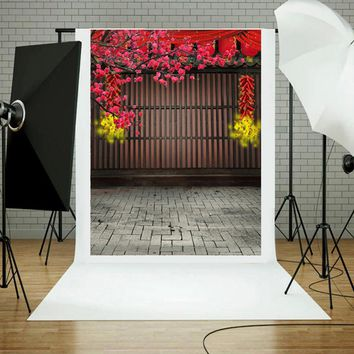 China Style Spring Festival Firecrackers Flower Background Wood Wall Stone Floor Photography Prop Backdrop 0.9x1.5M