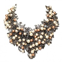 CRYSTAL, MULTI SAFETY PINS AND PEARLS BIB NECKLACE - Tom Binns