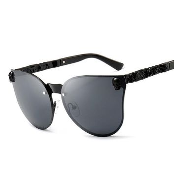 Skull Frame Metal Cat Eye Sunglasses