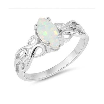 Sterling Silver Celtic Design Marquise Created White Opal Ring