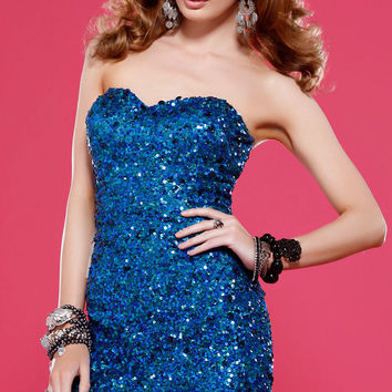 PRIMA Glitz GX1313 Blue Sequin Cocktail Dress