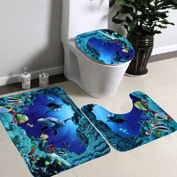 3pcs/set Bathroom Non-Slip Blue Ocean Style Pedestal Rug + Lid Toilet Cover + Bath Mat [8270363841]