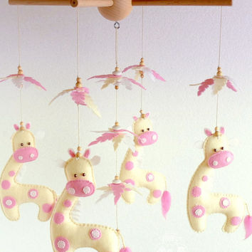 PINK GIRAFFE Baby MOBILE, Giraffe Crib Mobile in Pink & Ivory, Baby Shower, Newborn Gift, Cute Safari Baby Mobile, Baby Girl Nursery Decor