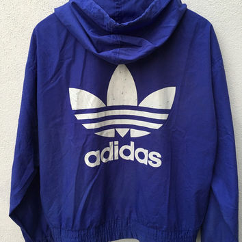 Vintage ADIDAS Trefoil Hip hop Run dmc Style hoodies pullover windbreaker Trainer Athletic Track Bomber Jacket