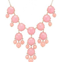 Color Bubble BIB Statement Fashion Necklace - Pink