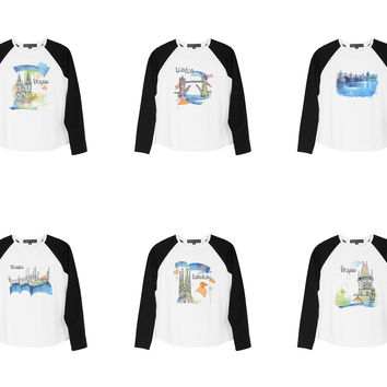 Kid's Child Watercolor famous place painting Printed Raglan T-shirt  UTS_01