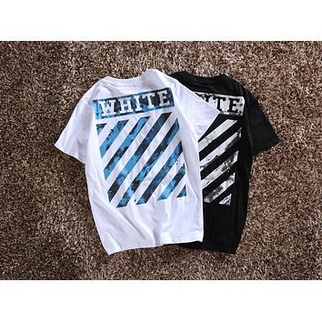 OFF-WHITE Ocean Oil Painting Print Men's and Women's Short Sleeve T-Shirt F-CP-ZDL-YXC