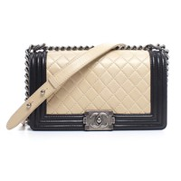 Pre-Owned Chanel Calfskin Medium Boy Bag