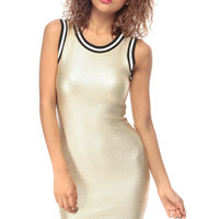 Gold Luxe Varsity Body Con Dress