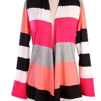 Stripes of Every Stripe Cardigan - Pink/Coral