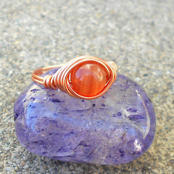 Ring, copper stone ring, Carnelian, wire ring, Carnelian ring, wire wrapped ring, gemstone ring,minimalist ring,healing stone, natural stone