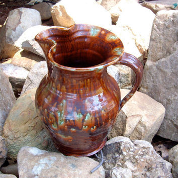 McCoy Drip Glaze Brown Pottery Pitcher by jpcountrymarket on Etsy